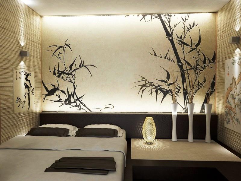 Интерьер с обоями в японском стиле