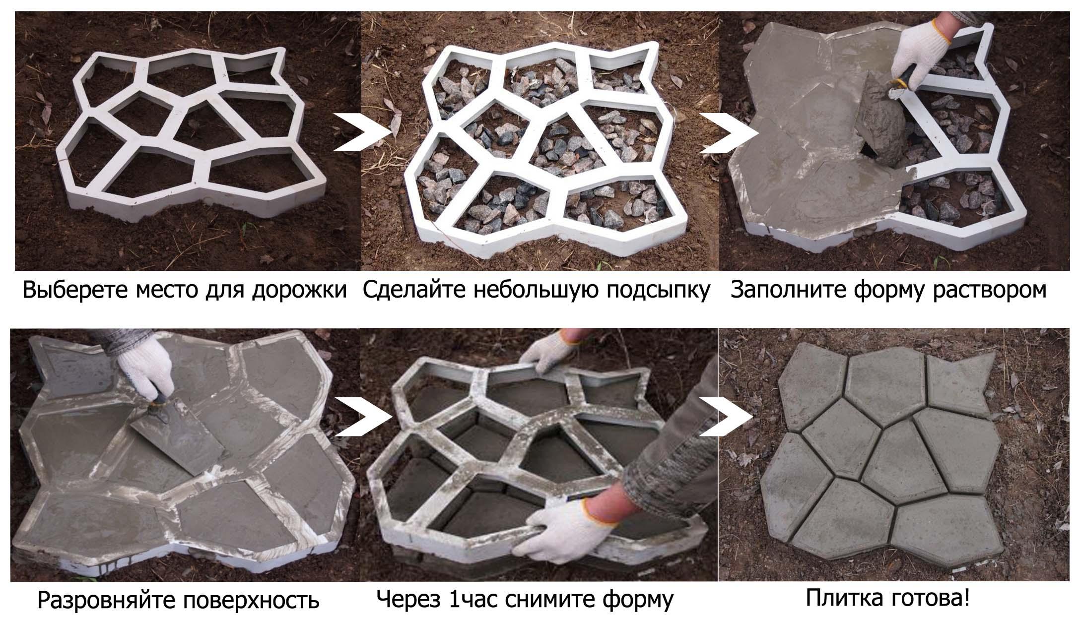 Изготовление садовой дорожки из бетона на форму