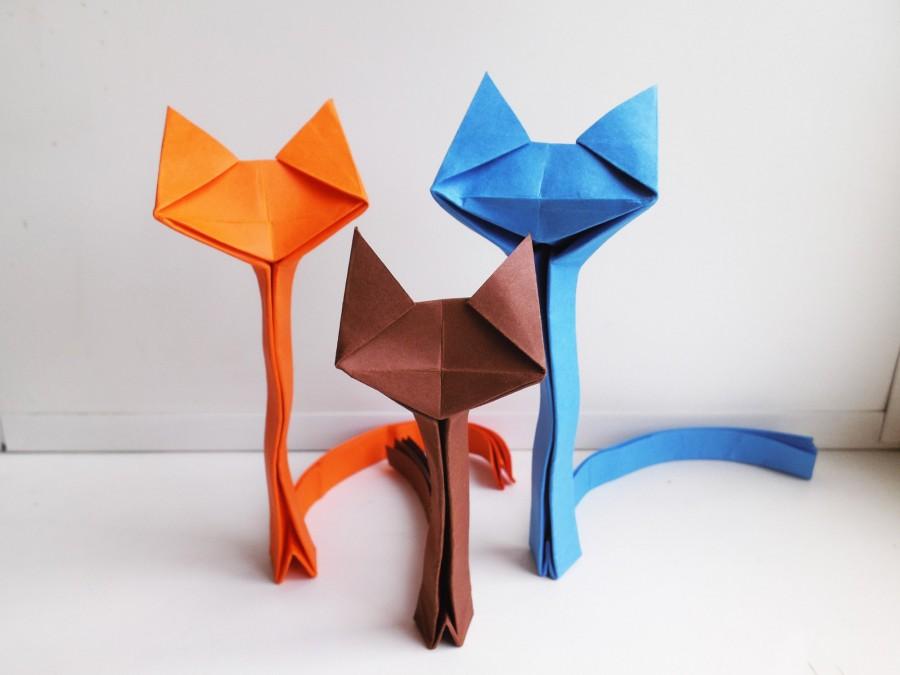 Цветные кошки-оригами