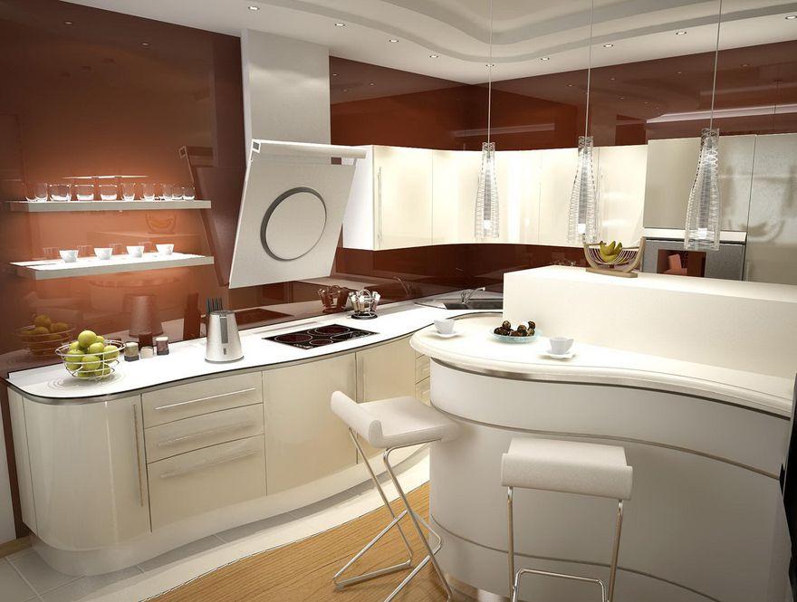 Кухня в стиле модерн с плавными формами