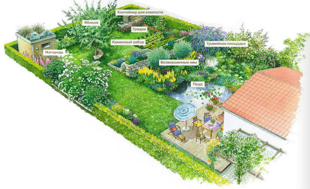 План природного дизайна маленького участка в 5 соток