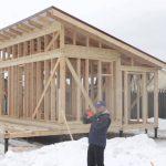 Фото 36: Строительство каркасной бани зимой