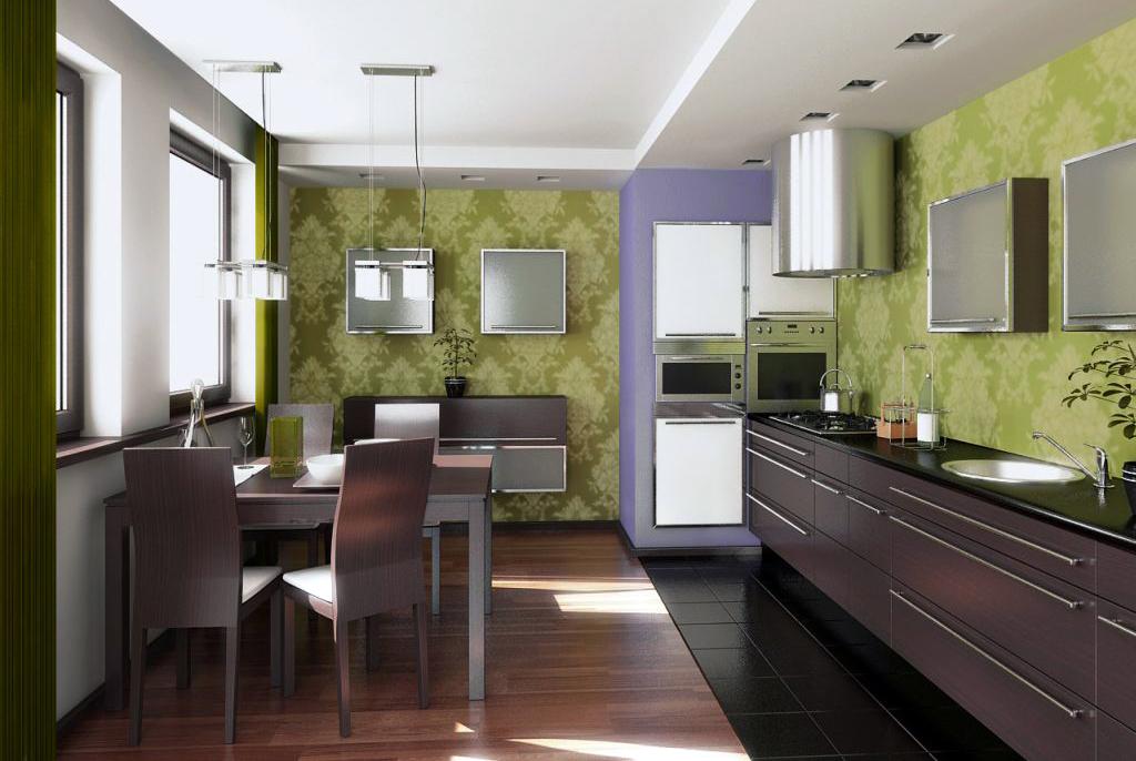 Сочетание обоев и мебели для кухни