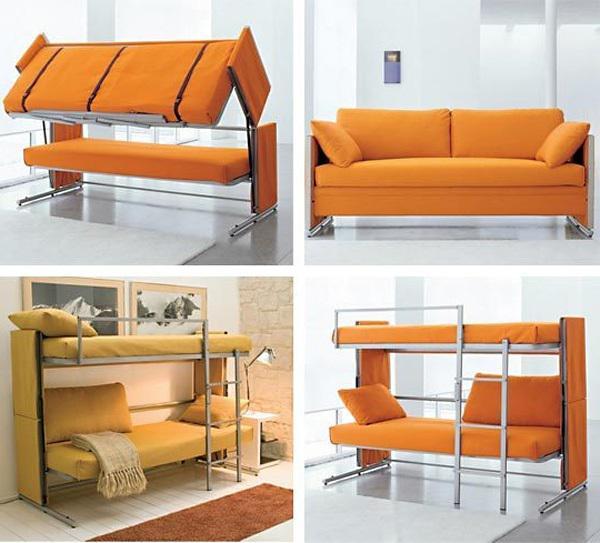 Диван трансформер оранжевого цвета