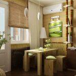 Фото 72: Бамбуковые обои на кухне
