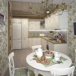 Фото 108: Цветочные обои на кухне
