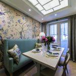 Фото 57: Красивые цветочные обои на кухне