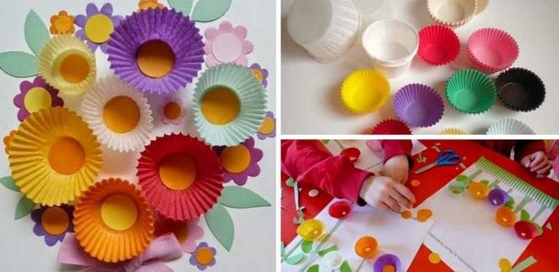 Цветы из упаковки от кексов
