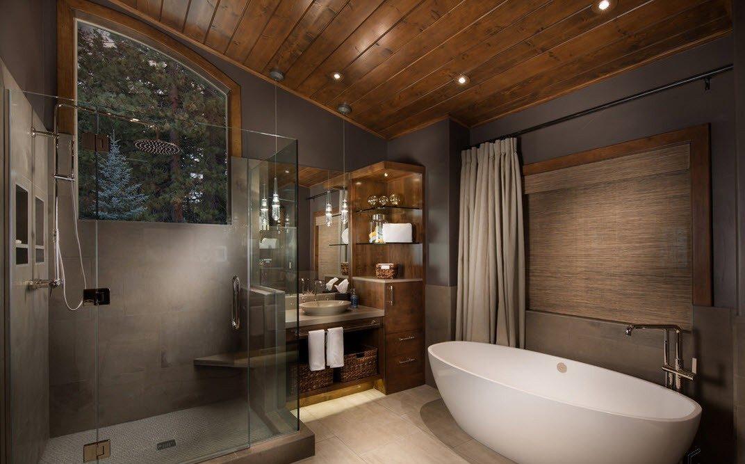 Дизайн ванной комнаты в стиле хай-тэк в деревянном доме