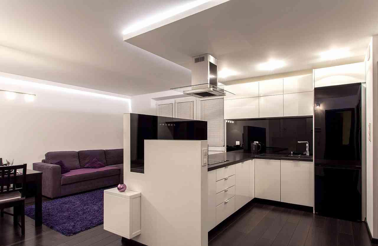 Разноуровневый потолок на кухне