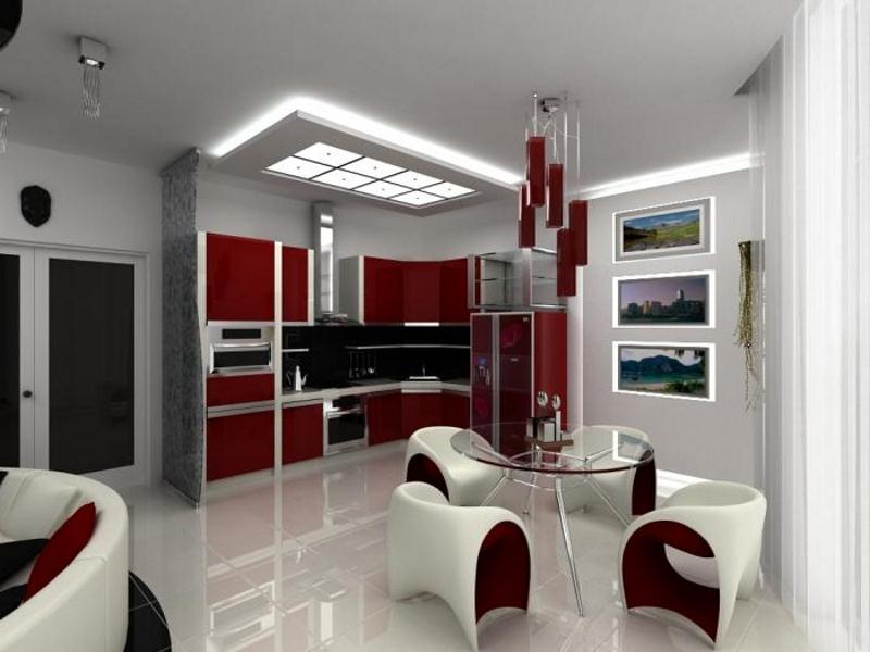 Отделение зоны кухни с помощью освещения