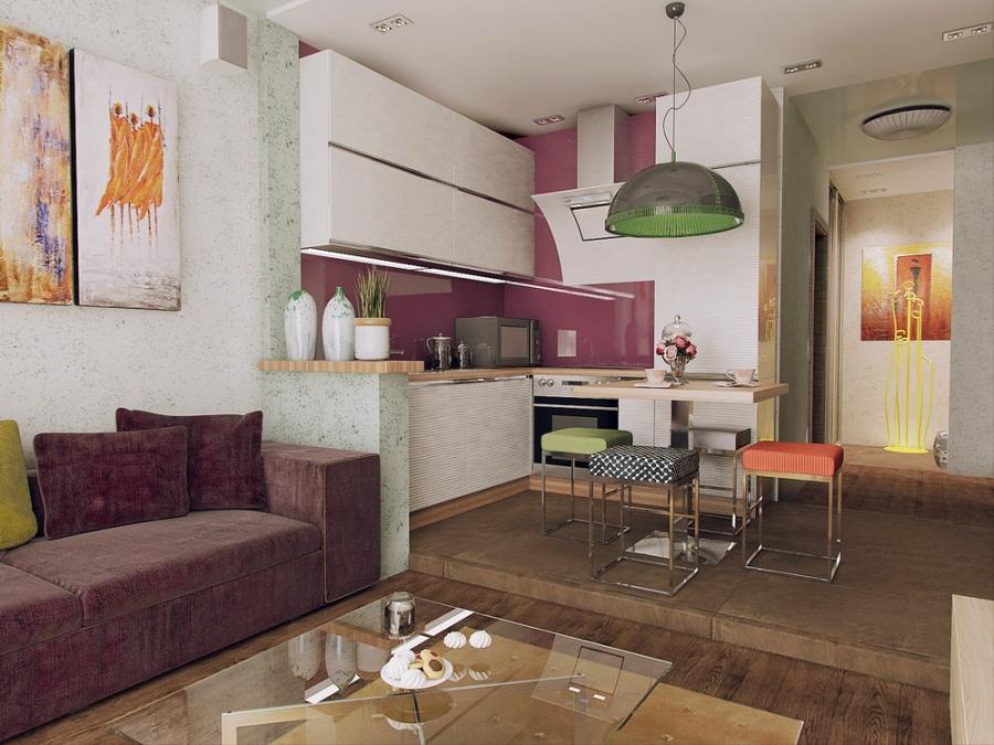 Отделение зоны кухни подиумом в маленькой квартире