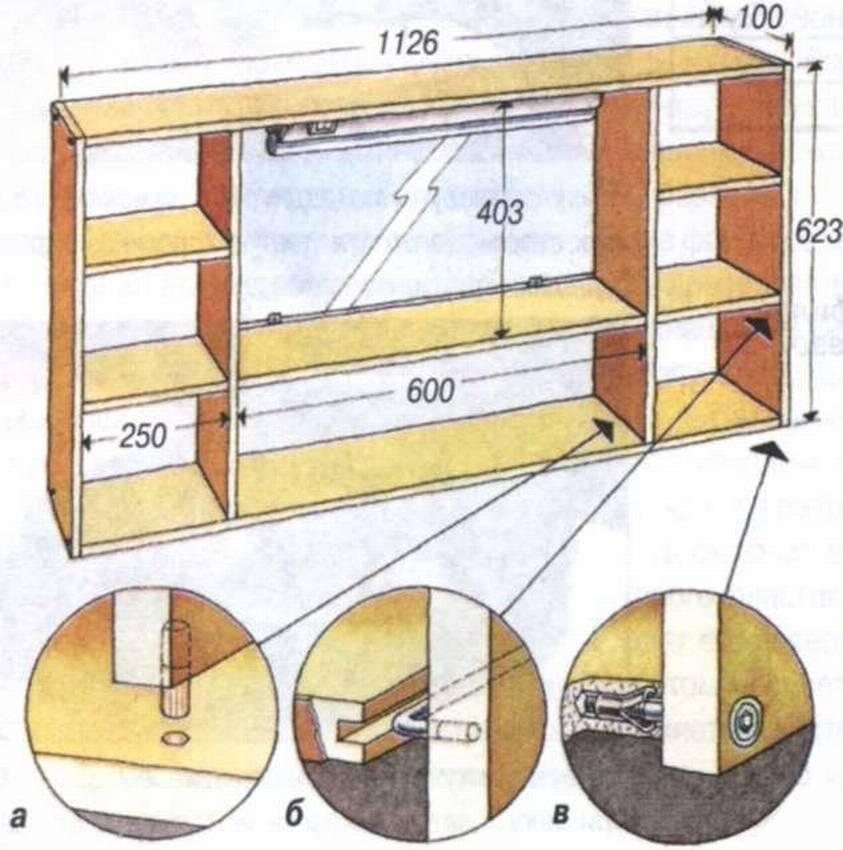 Схема полки из фанеры