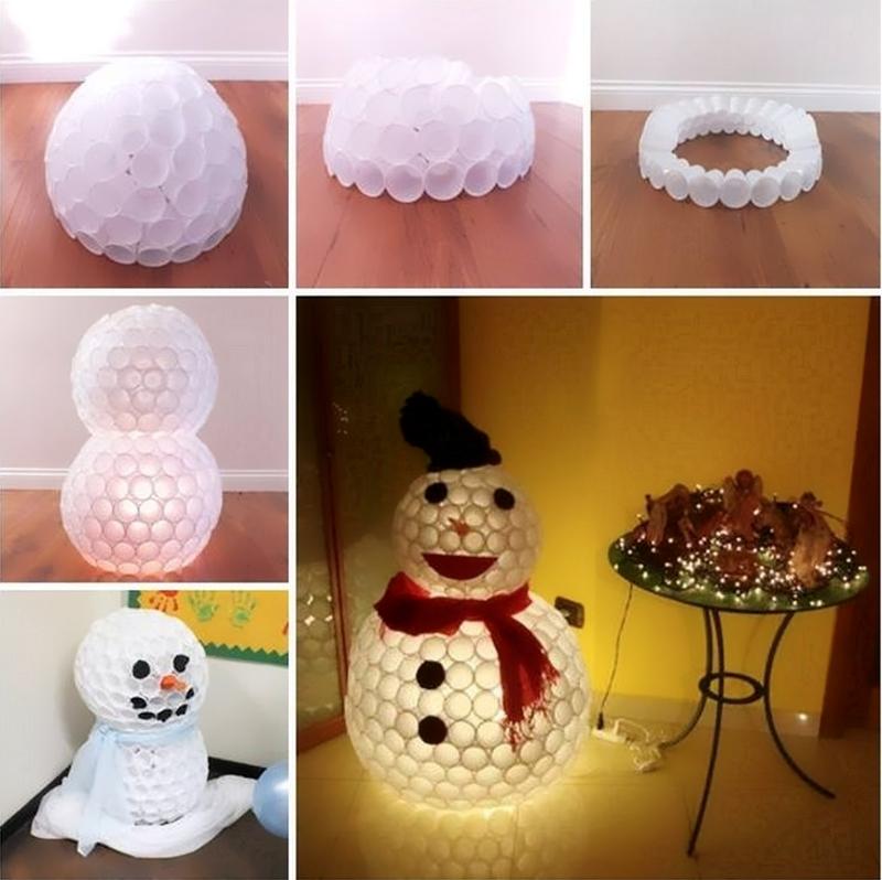 Изготовление снеговика из стаканчиков