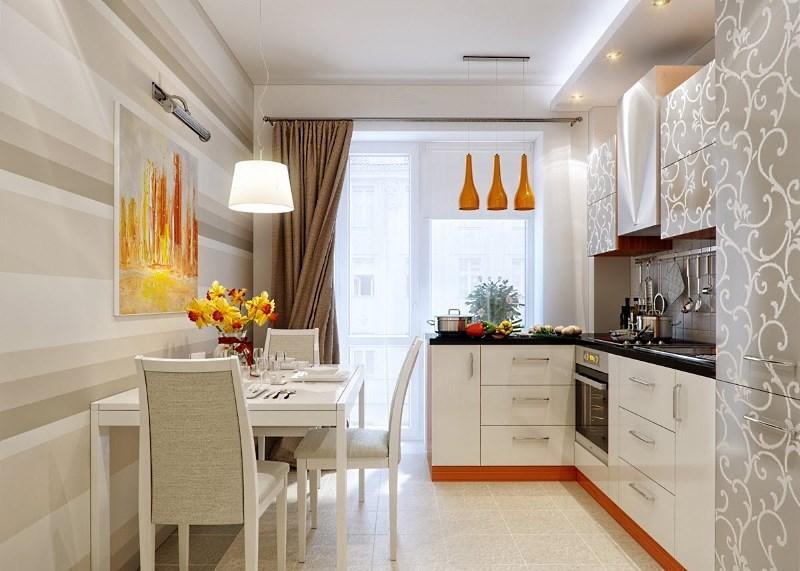 Светлые обои для маленькой кухни