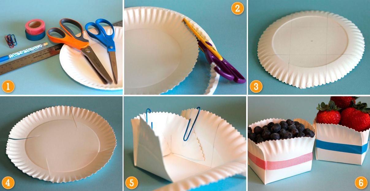Изготовление корзинки из бумажных тарелок для десертов