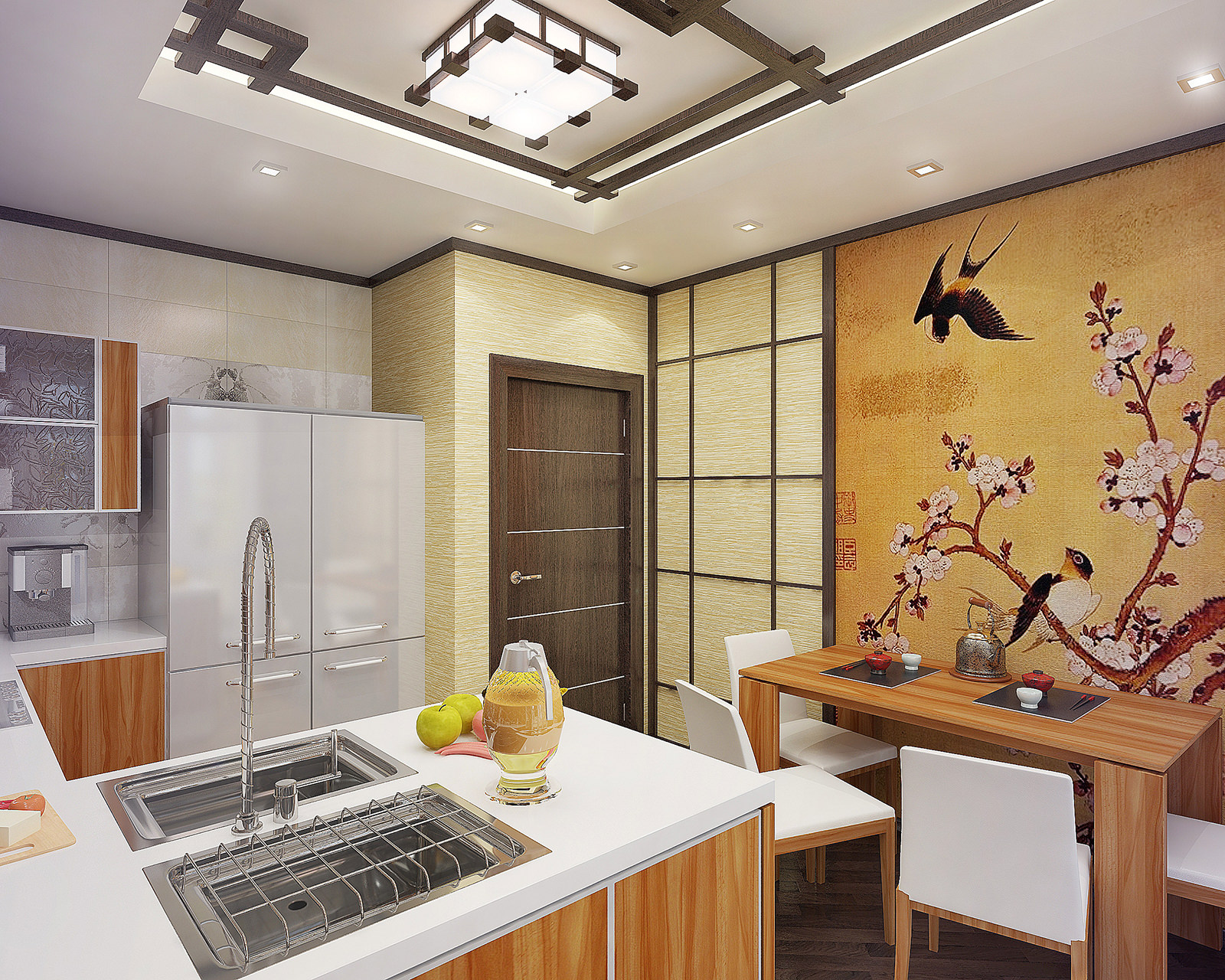 Азиатский принт обоев на кухне