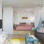 Фото 23: Зонирование комнаты с помощью кровати подиума
