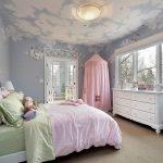 Фото 98: Расписной потолок в виде неба в детской комнате для девочек