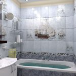 Фото 41: Рисунок на плитке в ванной