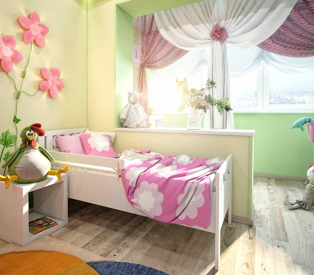 Расширение детской комнаты для девочек с помощью лоджии