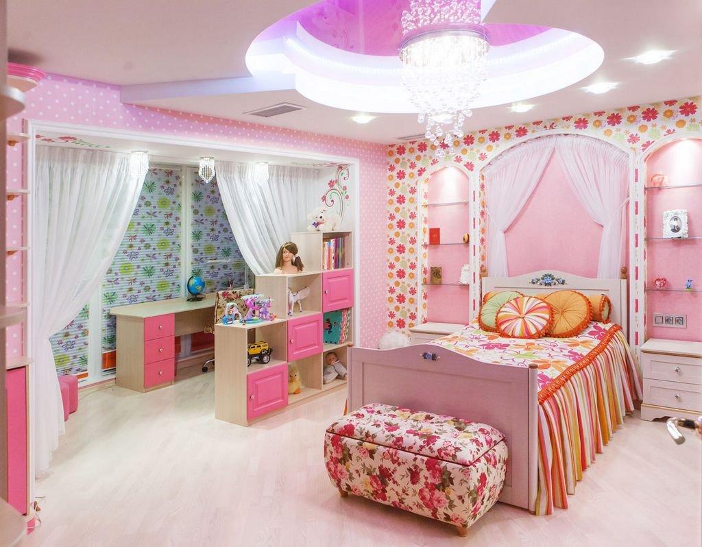 Зонирование комнаты для девочек