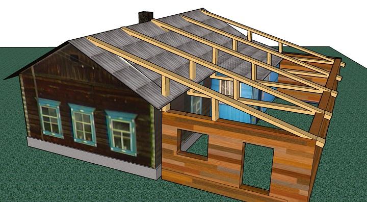 Общая крыша пристройки своими руками с кровлей здания