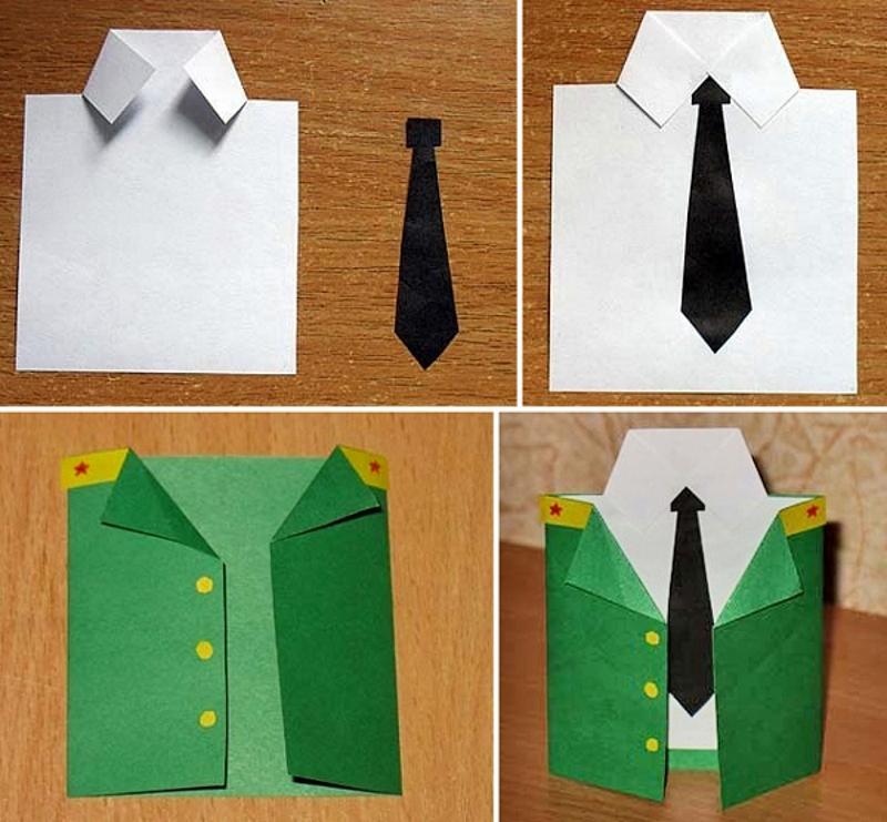 Открытка на 23 февраля своими руками рубашка с галстуком поэтапно