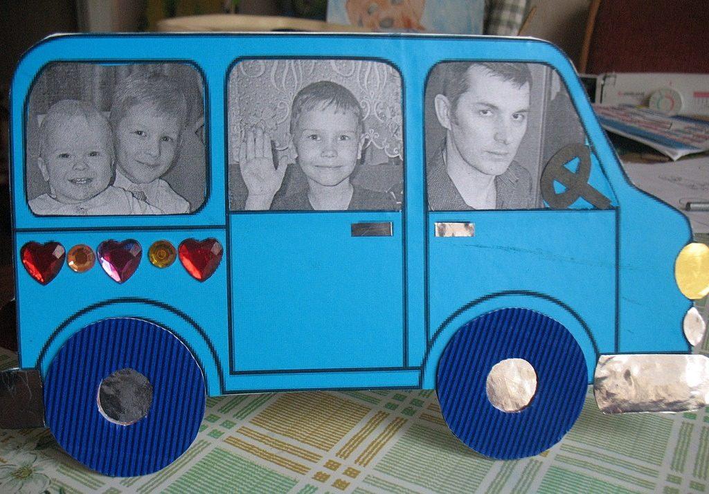 Идея открытки с машиной и фотографиями для папы