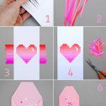 Фото 82: Открытка с сердцем с бумажными полосами