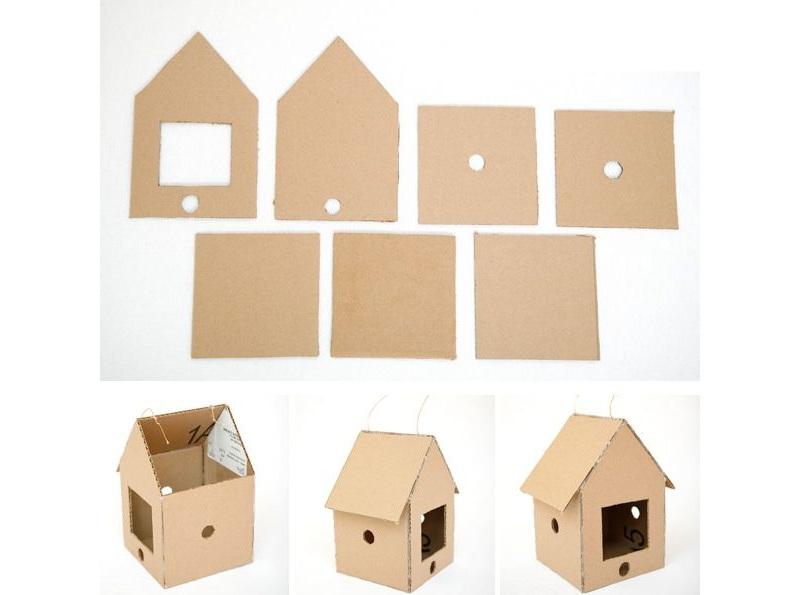 Скворечник из картона–домик