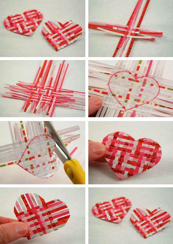 Валентинка из бумажных полосок