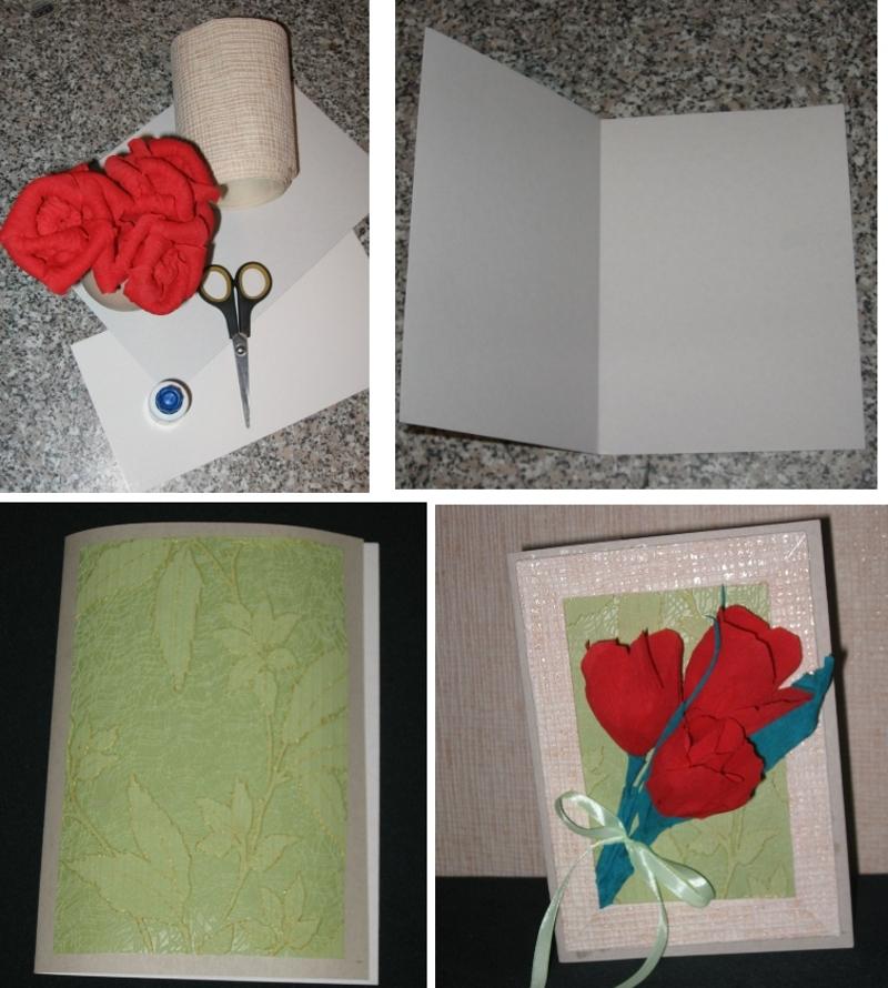 Объемная открытка с цветами из гофрированной бумаги