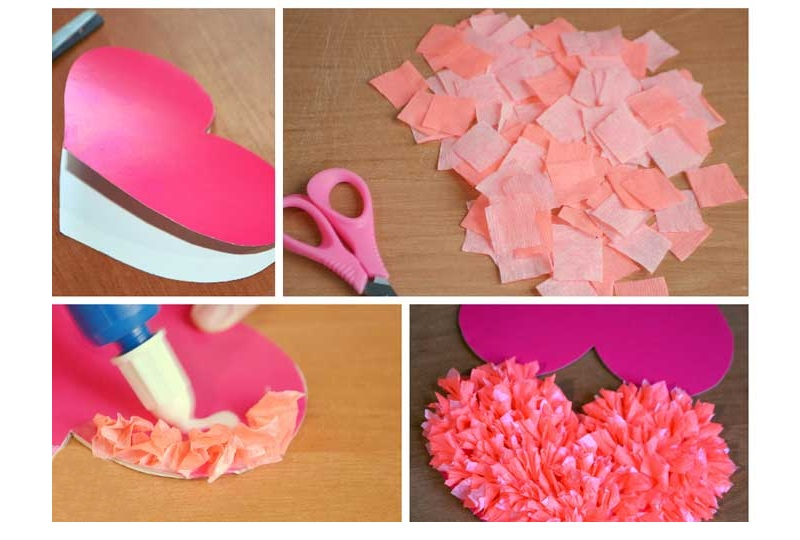 Пушистая валентинка из гофрированной бумаги