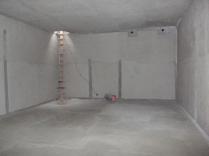 Подземный этаж после внутренней гидроизоляции