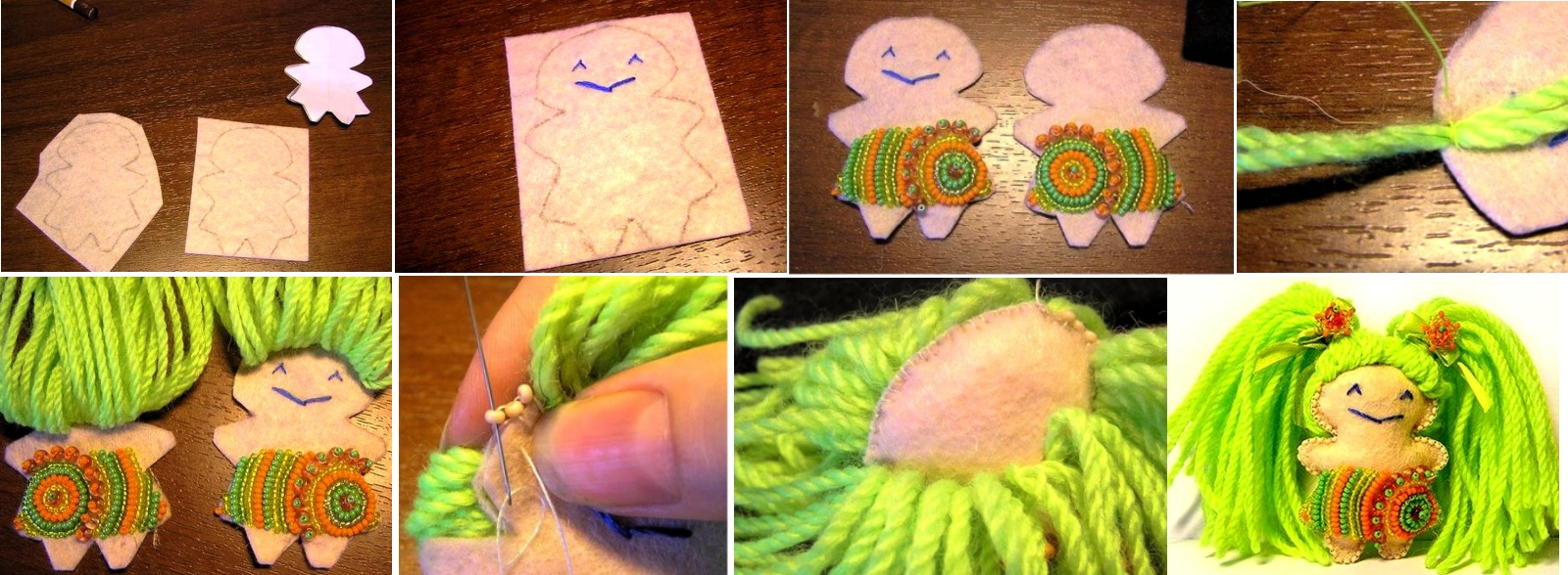 Изготовление маленькой куклы из фетра