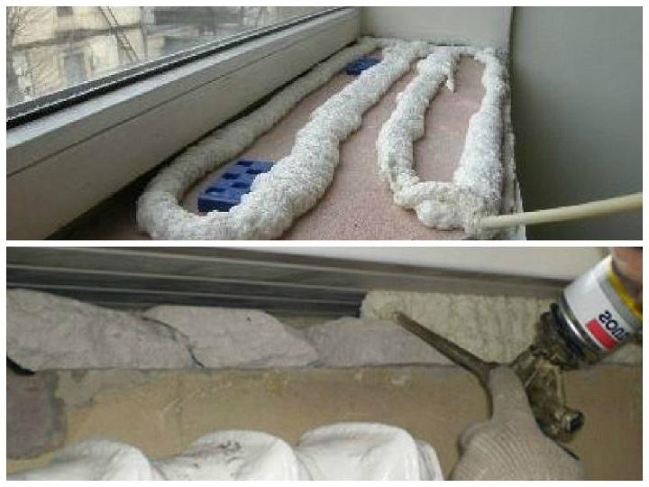 Заполнение нижней щели монтажной пеной при установке подоконника на пластиковые окна
