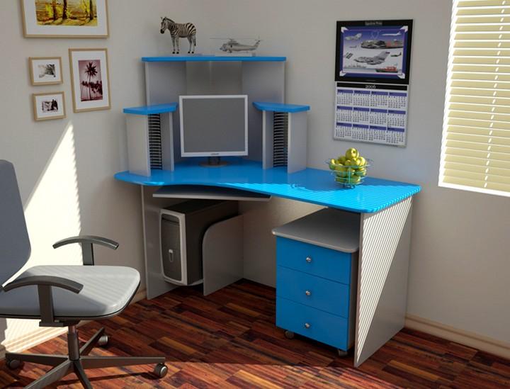 Угловой компьютерный стол яркий