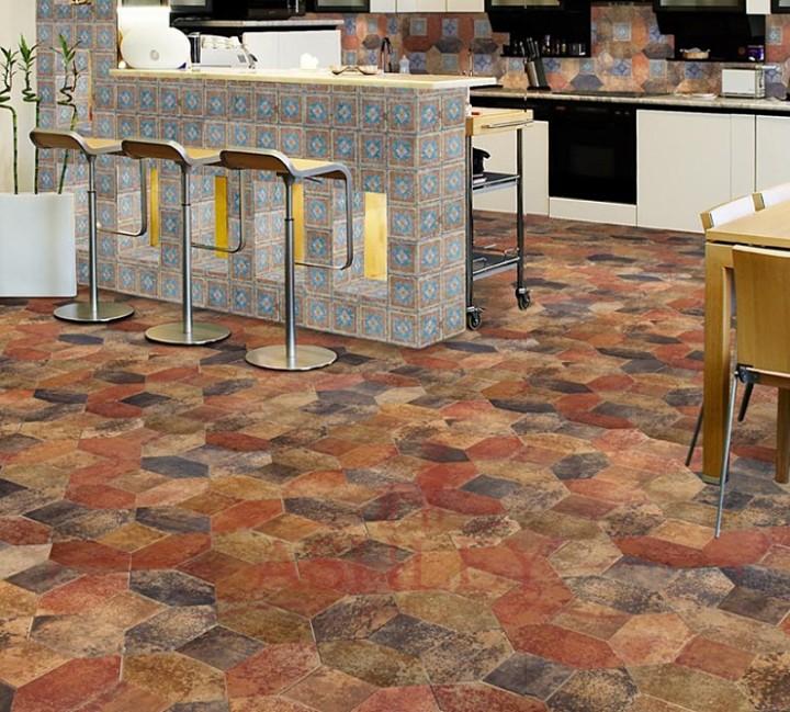 Укладка плитки на пол в виде мозаики