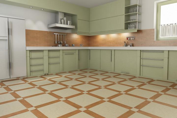Красивый пол на кухне из плитки