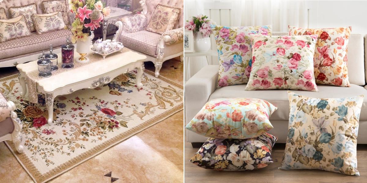 Ковры и подушки с цветами