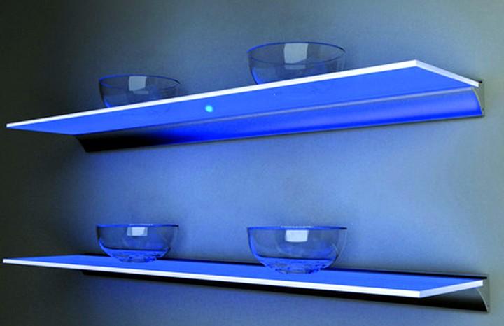 Стеклянные полки на стену с подсветкой2