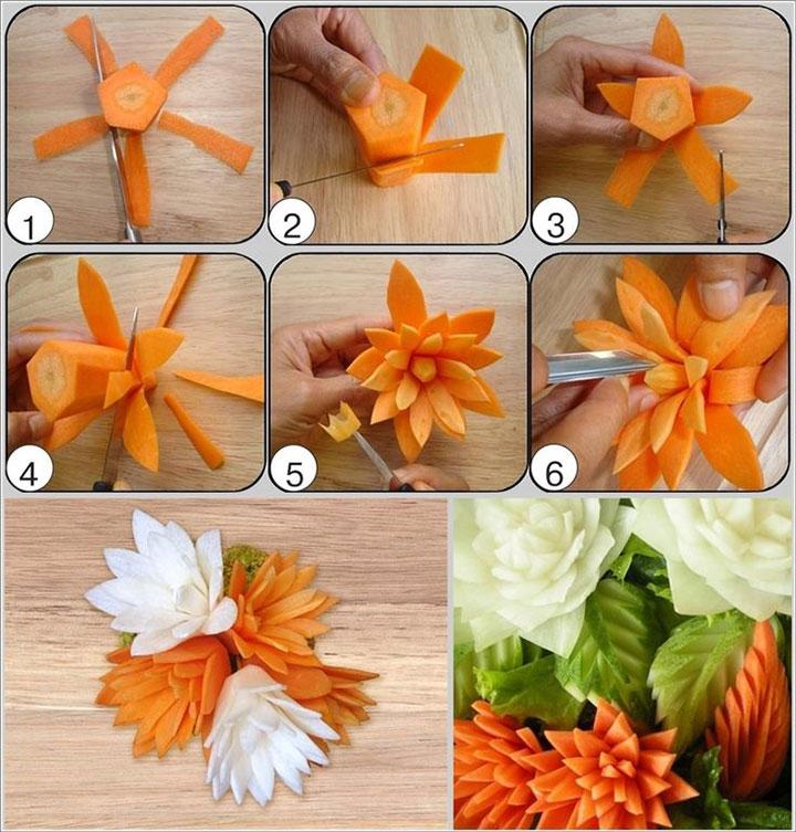 Карвинг цветок из моркови своими руками