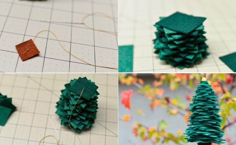 Изготовление елочки из квадратиков фетра