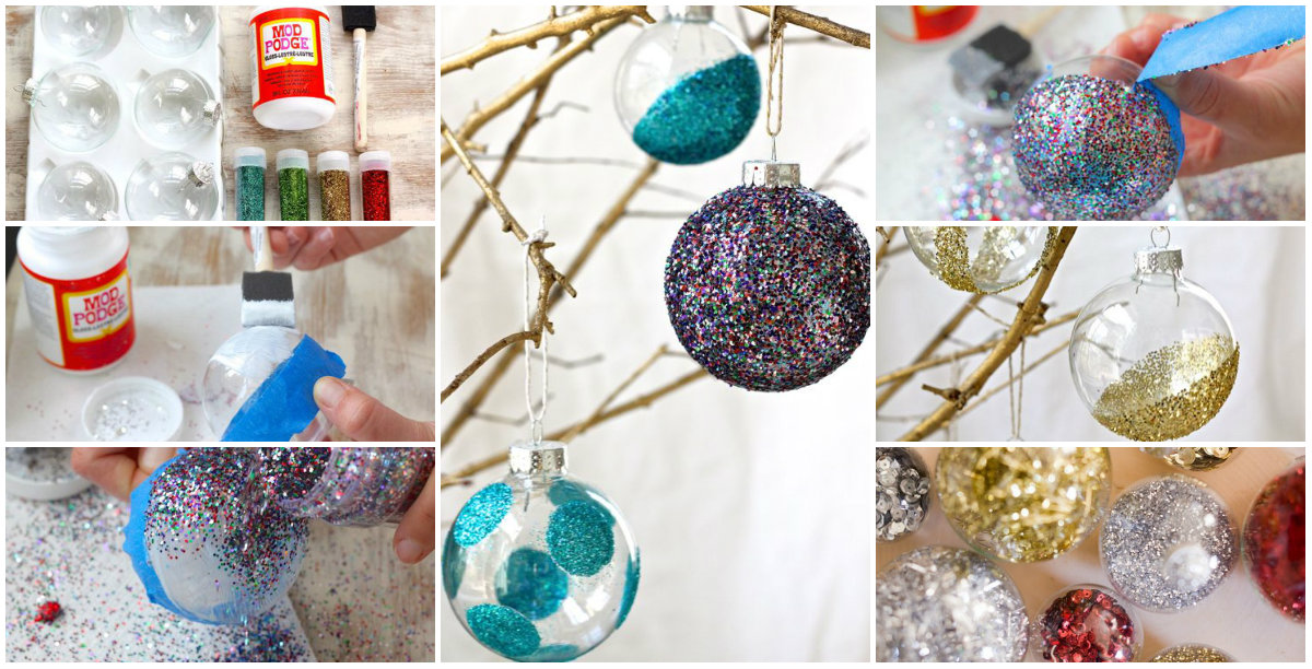 Изготовление елочной игрушки с блестками
