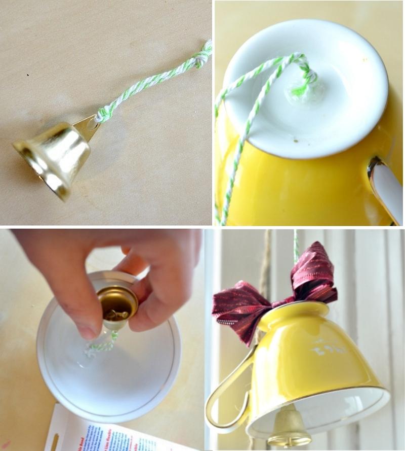 Изготовление новогоднего колокольчика из чашки