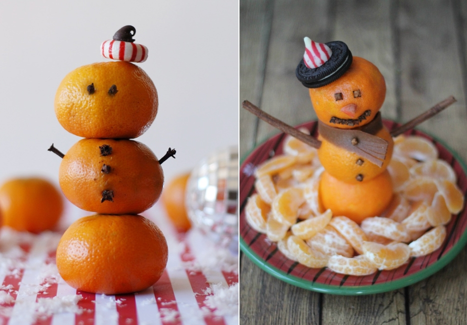 Снеговики из мандаринов на новогодний стол