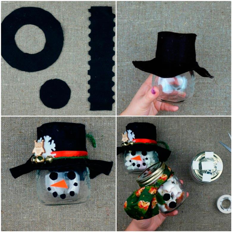 Снеговик из баночек со сладостями в подарок