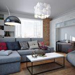 Фото 56: Светильники и люстры необычной геометрической формы для гостиной