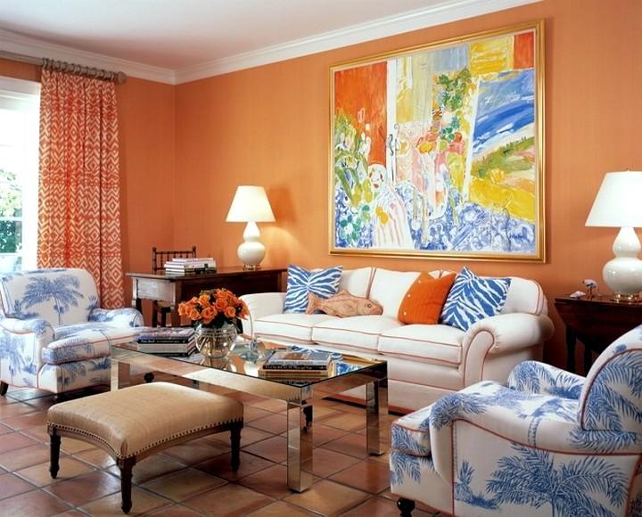 Терракотовый цвет в интерьере гостиной